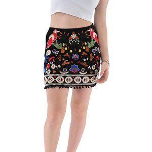 UMGEE Embroidered Floral Pom Pom Mini Skirt #LL11